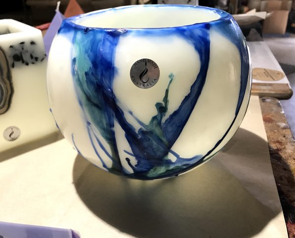 Newly finished Blue on Blue Flare lantern in the artist's workshop