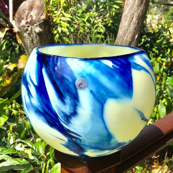 Sunshine highlights the variations in the blues of this Blue on Blue Flare lantern. Photo - Artist's personal collection