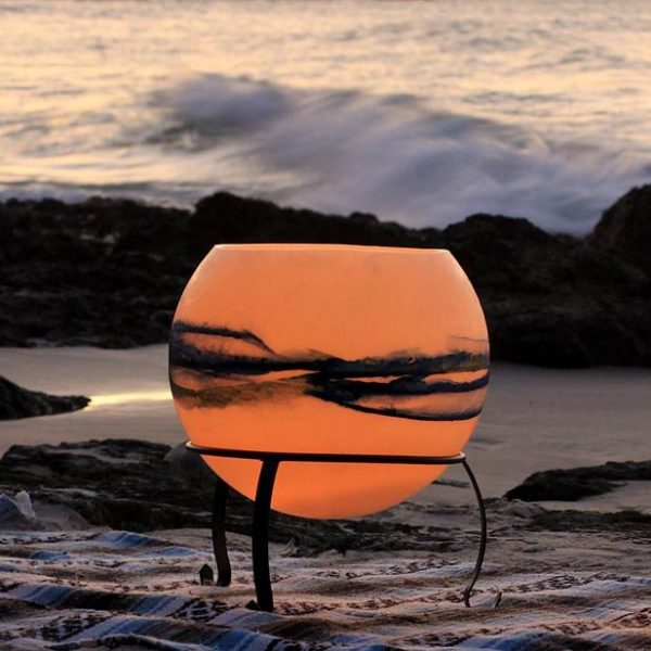 Cauldron Seascape lantern includes the handmade powder coated metal stand. Photo by Frank Gumley