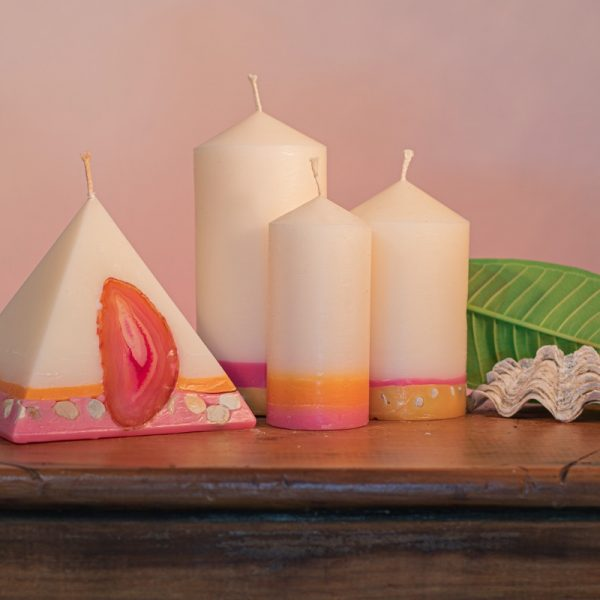 Pillar Candles and Pyramid Candles are colour coded and scent matched throughout the range.