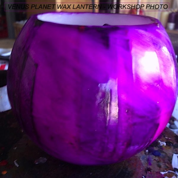 Bold purple is the dominant colour on a lantern inspired by the feminine planet Venus. Photo By Linda Saul