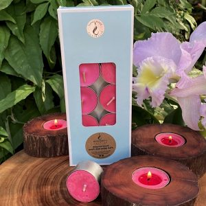 Dragon Blood scented tea-light cups burn brightly for eight hours each. Presented in a 10 pack windowed gift-box.
