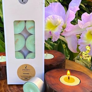 Citronella scented tea-light cups burn brightly for eight hours each. Presented in a 10 pack windowed gift-box.