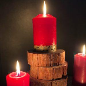 Ironbark Plinths complement your pillar candles.