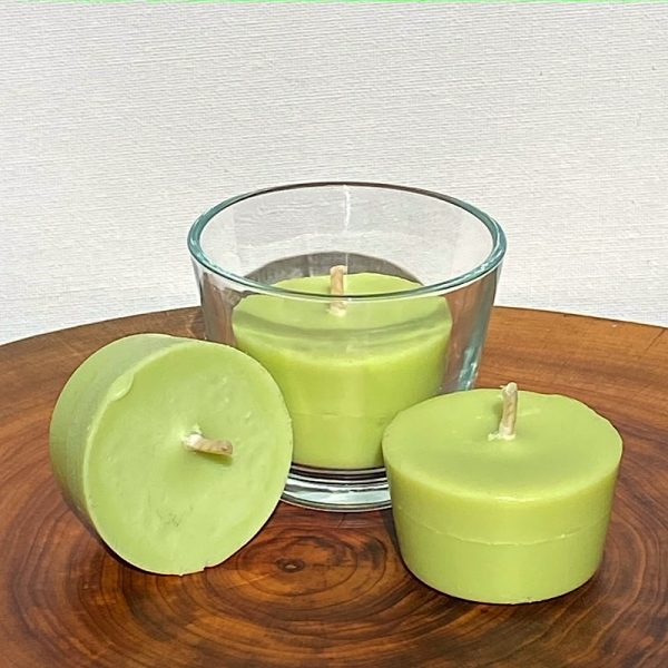 Three Lime, Lemongrass and Cedarwood pure soy Votives, with one glass, burn brightly for a total of 24 hours with an invigorating, citrus-fresh appeal.