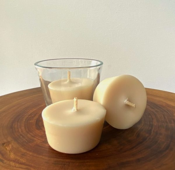 Three Lime and Coconut pure soy Votives, with one glassware, burn brightly for a total of 24 hours with a smooth, fresh fragrance.