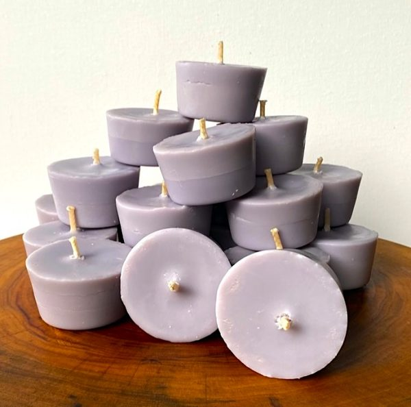 Twenty Lavender & Vanilla pure soy Votives burn brightly for a total of 160 hours with a lavish, calming aroma.