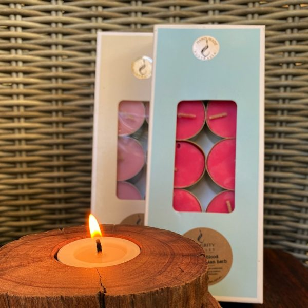 Two gift-boxed 10-packs of Pure Soy Tea-lights. Eleven essential oil fragrances available.