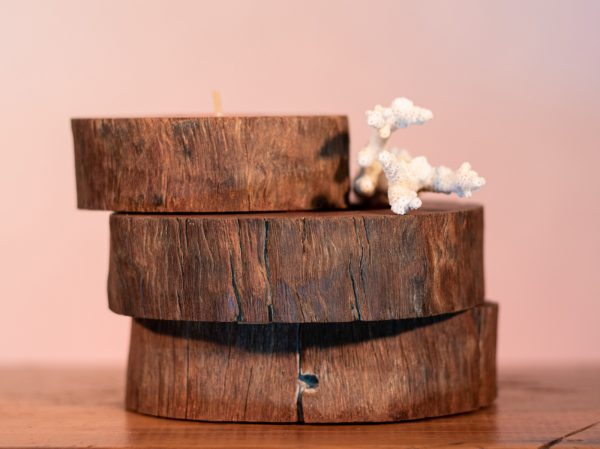 Iron-bark is fire resistant making it the perfect stand for your candles.