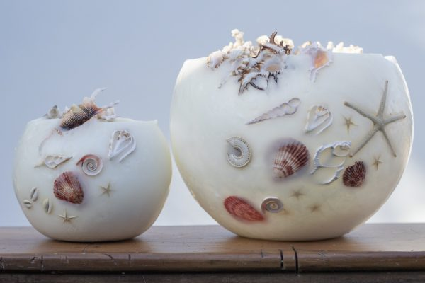 Two beautiful shell lanterns, large and small Twin-set. Photo by Kim Vecie