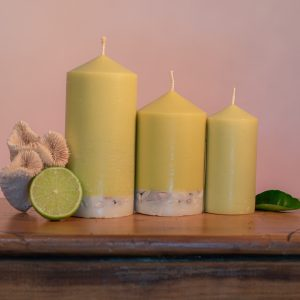 This refreshing range is infused with essential oils of Lime, Lemongrass and Cedarwood. Fresh green in colour, these candles feature a white base embedded with river pebbles.