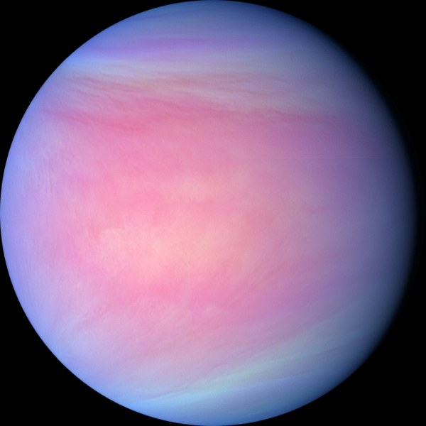 Venus is the second planet from the Sun. It is named after the Roman goddess of love and beauty. The Venus symbol (♀) consists of a circle with a small cross below it. In botany and biology, it is used to represent the female sex (alongside the astrological symbol for Mars representing the male sex), following a convention introduced by Linnaeus in the 1750s. Arising from the biological convention, the symbol also came to be used in sociological contexts to represent women or femininity. Photo: NASA (nasasearch.nasa.gov)