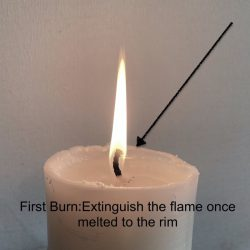 Extinguish your candle once the wax has melted to the rim